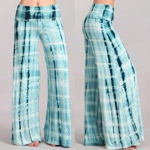 Pants - Plus size tie dye palazzo pants wide leg 1X 2X 3X